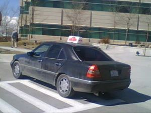 California Mercedes delivering Pizzas in Utah
