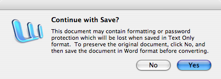 Word 'Save As ...' confirmation dialog box